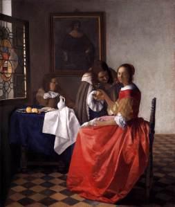 Johannes Vermeer: Dama con dos caballeros o Muchacha con copa de vino