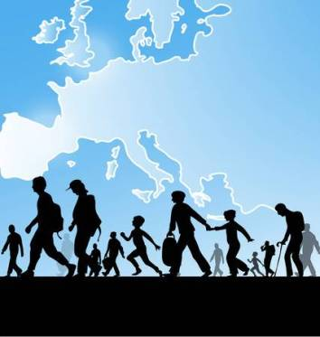 immigration-people-on-europe-map-background